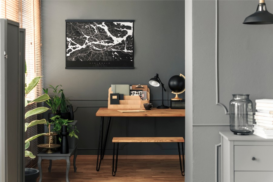 gray painted walls home office
