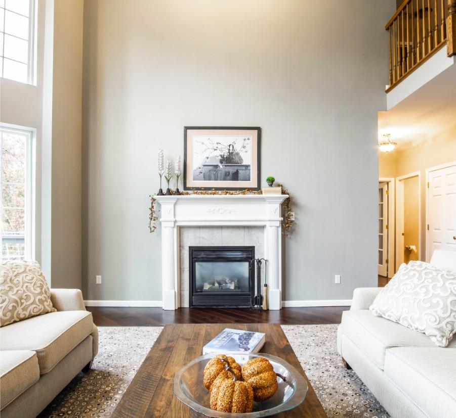 white fireplace cream living room