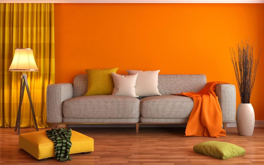 orange living room gray couch