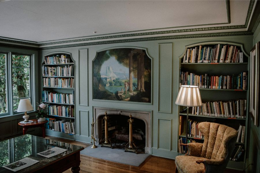 forest green home library